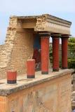 克利特希腊knossos宫殿废墟 库存图片