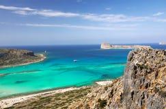 克利特旅行,吸引力,巡航Balos海滩 图库摄影