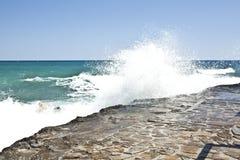 克利特海岛和蓝色海和天空 免版税图库摄影