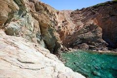 克利特海岛岩石海岸 图库摄影