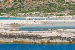克利特海岛,希腊西北部的Balos盐水湖  库存照片