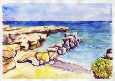 克利特风景水彩艺术 库存照片