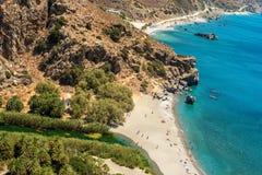 克利特,希腊:棕榈海湾 免版税图库摄影