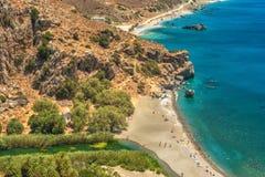 克利特,希腊:棕榈海湾 免版税库存图片
