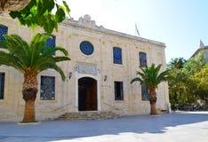 克利特,希腊09 12 2013年 伊拉克利翁 克利特拜占庭式的样式的大教堂  免版税库存照片