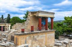 克利特,希腊- 2017年11月:famouse克利特的Knossos宫殿古老ruines  免版税库存图片
