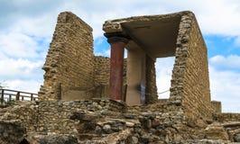 克利特,希腊- 2017年11月:famouse克利特的Knossos宫殿古老ruines  库存图片