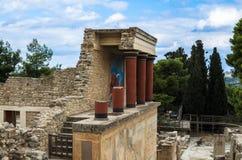 克利特,希腊- 2017年11月:famouse克利特的Knossos宫殿古老ruines  库存照片