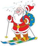 克劳斯・圣诞老人滑雪者 向量例证
