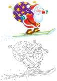 克劳斯・圣诞老人滑雪者 库存例证