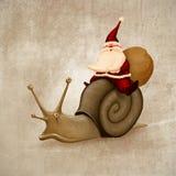 克劳斯乘坐圣诞老人蜗牛 向量例证