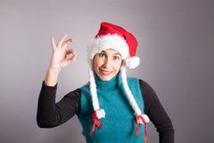 克劳斯女孩圣诞老人 免版税库存照片
