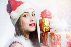 克劳斯女孩圣诞老人 免版税图库摄影