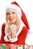 克劳斯女孩辅助工圣诞老人 库存图片