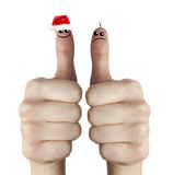 克劳斯手指愉快的哀伤的圣诞老人 免版税库存照片