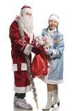 克劳斯礼品女孩圣诞老人雪 免版税库存图片