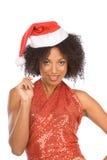 克劳斯种族友好帽子圣诞老人夫人佩&# 免版税图库摄影