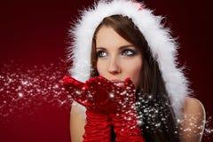 克劳斯给女孩r圣诞老人性感佩带穿衣 库存照片