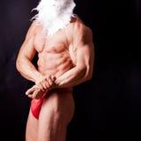 克劳斯肌肉圣诞老人 库存图片