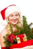 克劳斯・圣诞老人性感的妇女 库存图片