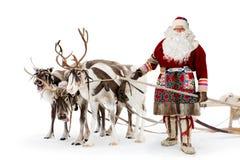 克劳斯他的驯鹿圣诞老人 免版税库存图片