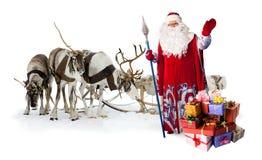 克劳斯他的驯鹿圣诞老人 图库摄影