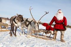 克劳斯他的驯鹿圣诞老人 免版税库存照片