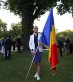 克劳斯Iohannis总统欢迎罗马尼亚人Qlympic队 免版税库存图片