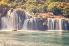 克尔卡国家公园,美好的自然风景,瀑布Skradinski buk的看法,克罗地亚 免版税图库摄影