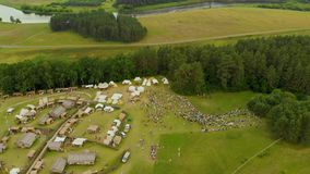 克尔纳韦考古学站点鸟瞰图  股票录像