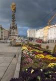 巴洛克式的三位一体列在林茨,奥地利 免版税库存照片