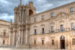 巴洛克式的中央寺院,西勒鸠斯,西西里岛,意大利 免版税库存照片