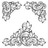 巴洛克式的叶子框架漩涡装饰设计元素 库存图片