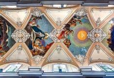 巴洛克式的天花板大教堂della Collegiata,卡塔尼亚,西西里岛,意大利 免版税库存图片
