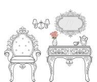 巴洛克式的家具充足的规定收藏 被装饰的背景传染媒介例证 免版税库存图片