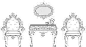 巴洛克式的家具充足的规定收藏 被装饰的背景传染媒介例证 库存图片