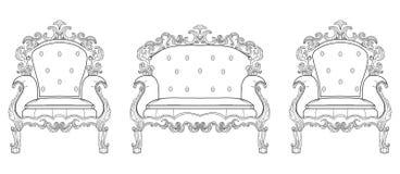 巴洛克式的家具富有扶手椅子 手工制造被装饰的装饰 也corel凹道例证向量 库存图片