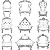 巴洛克式的豪华样式扶手椅子家具集合 库存图片
