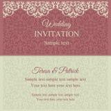巴洛克式的邀请、桃红色和灰棕色 库存图片