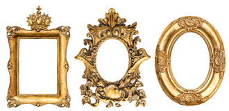 巴洛克式的金黄画框白色背景 图库摄影