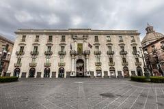 巴洛克式的门面历史建筑,市中心卡塔尼亚,西西里岛 意大利 图库摄影