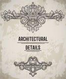 巴洛克式的经典样式边界 古色古香的漩涡花饰 在难看的东西背景的葡萄酒建筑详细设计元素 向量例证