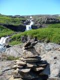 克恩和有些瀑布在冰岛 图库摄影