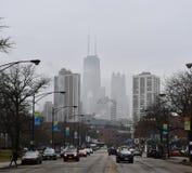 克拉克街在一个有雾的早晨 免版税图库摄影