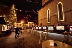 克拉尼,斯洛文尼亚- 2016年12月7日:与圣诞节装饰照明设备的浪漫出现12月夜在克拉尼 免版税库存照片