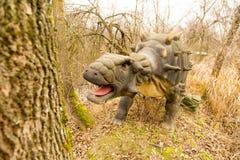 克拉斯诺达尔,俄罗斯联邦2018年1月5日:恐龙的模型在市的徒步旅行队公园克拉斯诺达尔 免版税图库摄影