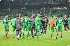 克拉斯诺达尔,俄罗斯- 2017年11月14日:尼日利亚足球运动员 免版税库存图片