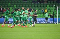 克拉斯诺达尔,俄罗斯- 2017年11月14日:尼日利亚足球运动员d 免版税库存照片