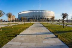 克拉斯诺达尔,俄罗斯- 2017年3月06日:体育场2017年3月06日的FC克拉斯诺达尔的前面 免版税库存图片