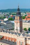 克拉科夫从顶的市视图在一个方形的购物拱廊和 库存照片